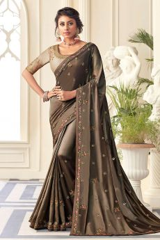 Cedar Silk Saree with Zari Embroidered Work