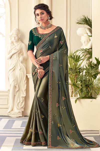 Army Green Designer Silk Saree