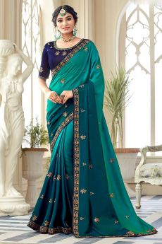 Teal Ombre Designer Silk Saree With