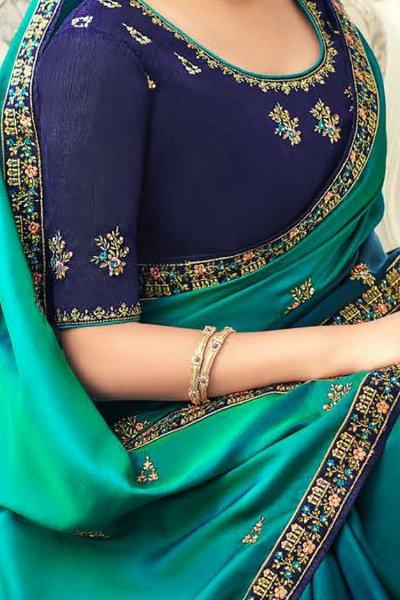 Teal Ombre Designer Silk Saree With