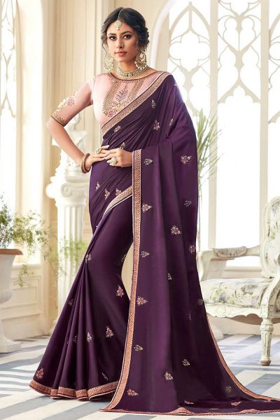 Purple Embroidered Silk Saree