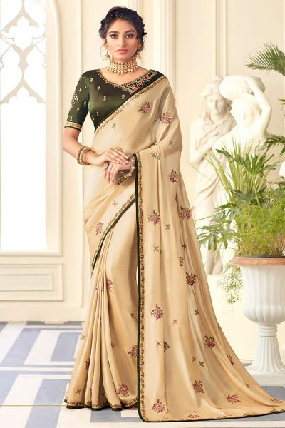 Embroidered Silk Saree in Pale Yellow