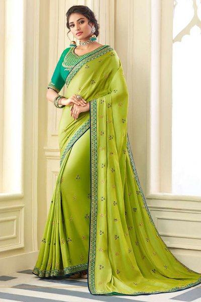 Designer Embroidered Silk Saree in Green