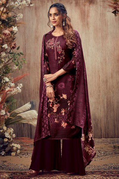 Burgubundy Embroidered Indian Pashmina Suit