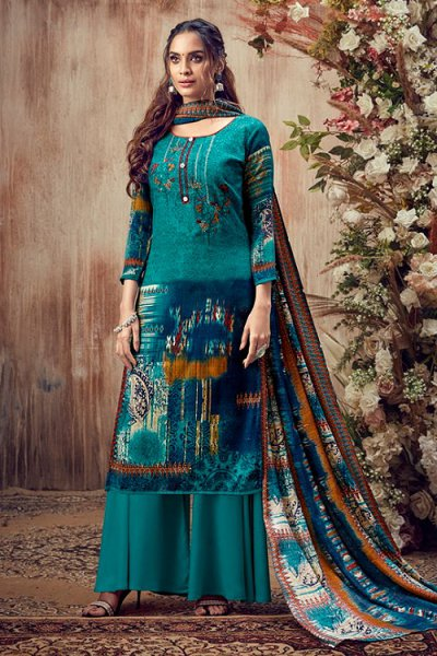 Teal Embroidered Indian Pashmina Suit