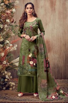 Olive Embroidered Indian Pashmina Suit