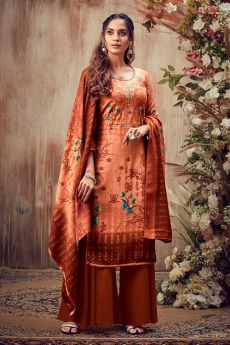 Orangish Brown Embroidered Indian Pashmina Suit