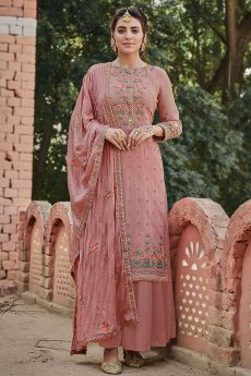 Blush Pink Intricate Embroidered Palazzo Suit in Chinon