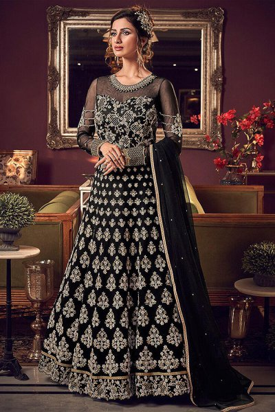 Net Anarkali Suit in Black with Floral Zari Embroidery