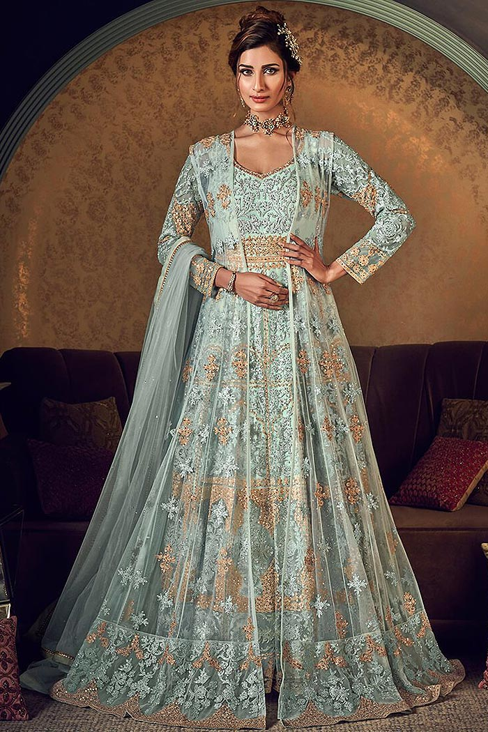 Net Jacket Styled Anarkali Suit in with Beautiful Embroidery