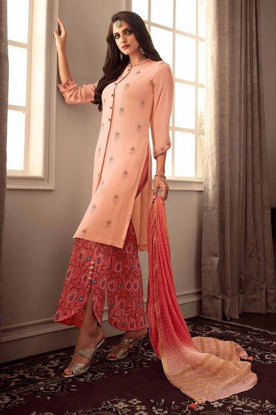 Designer Peach Silk Palazzo Suit