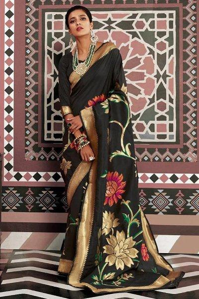 Designer Black Silk Weaved Saree
