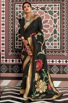 Designer Black Silk Weaved Saree