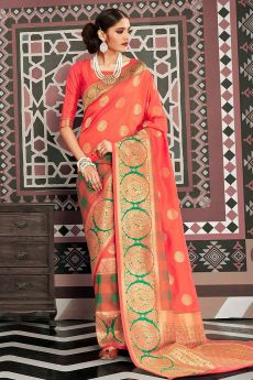 Designer Orange Silk Weaved Saree