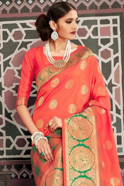 Designer Orange Silk Weaved Saree