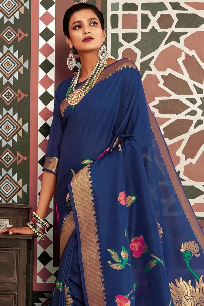 Designer Royal Blue Silk Weaved Saree