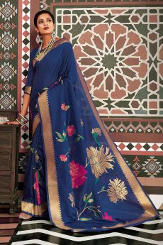 Designer Royal Blue Silk Weaved Saree