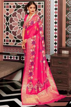 Pink Designer Silk Weaved Saree