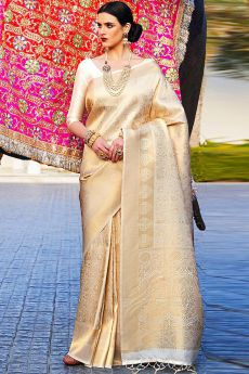 Off White Designer Silk Weaved Saree