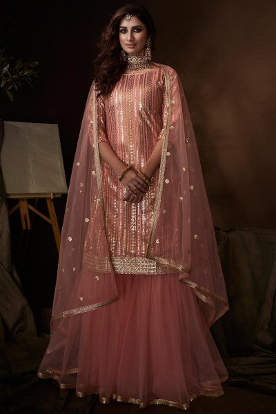 Beautiful Light Peach Sequin Embellished Sharara Suit in Net