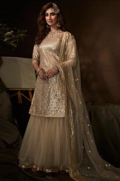 Beige Sequin Embellished Party Wear Sharara Suit