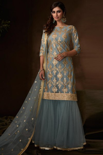 Gorgeous Steel Blue Sequin Embellished Sharara Suit in Net