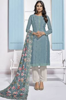 Smokey Blue Embroidered Designer Indian Suit in Chinon