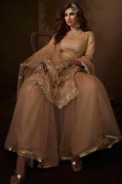 Stunning Sand Sequin Embellished Sharara Suit in Net with Mirror Detailing