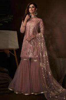 Blush Pink Sequin Embellished Indian Net Suit