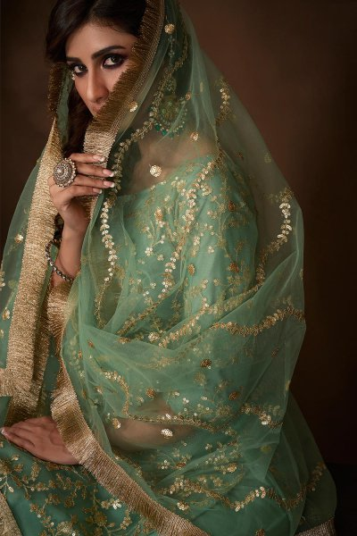 Mint Green Designer Indian Suit with Floral Embellishments