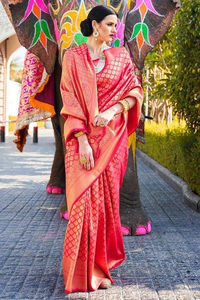 Red Silk Weaved Designer Saree