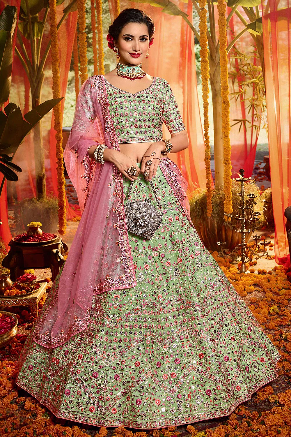 Organza Intricately Embroidered Lehenga with Mirror Work
