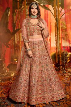 Peach Embroidered Lehenga in Organza Silk