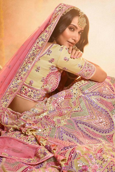 Pale Yellow Organza Embroidered Lehenga with Mirror Work