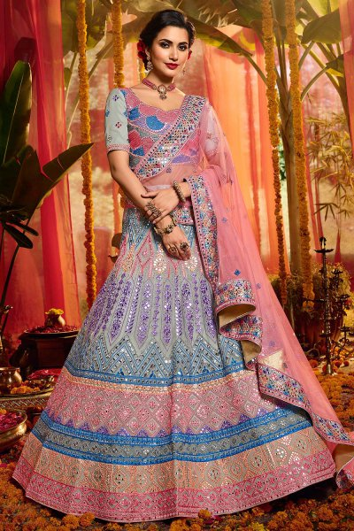 Powder Blue Organza Silk Embroidered Lehenga