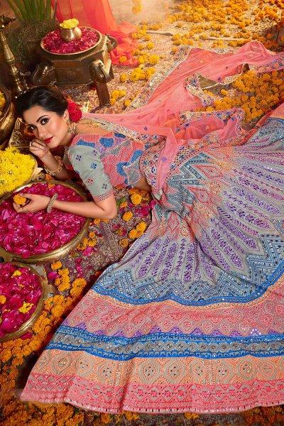 Powder Blue Organza Silk Embroidered Lehenga