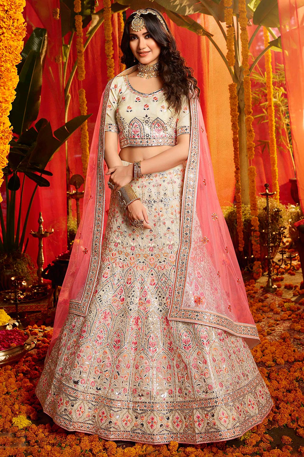 Off White Designer Organza Embroidered Indian Lehenga