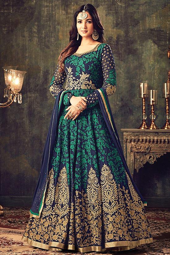 Navy Blue and Green Designer Anarkali Suit