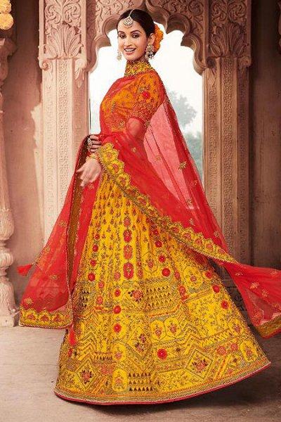 Gorgeous Yellow Zari Embroidered Designer Indian Lehenga