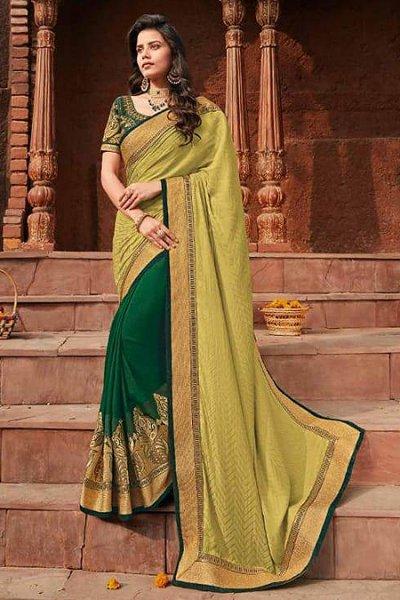 Gold Printed Designer Silk Saree
