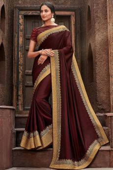 Wine Silk Zari Embroidered Saree