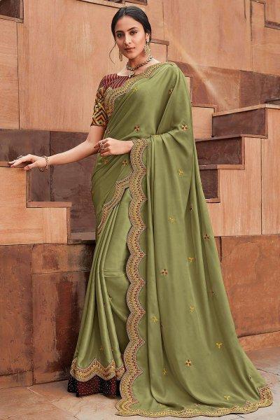 Green Cut Work Embroidered Silk Saree