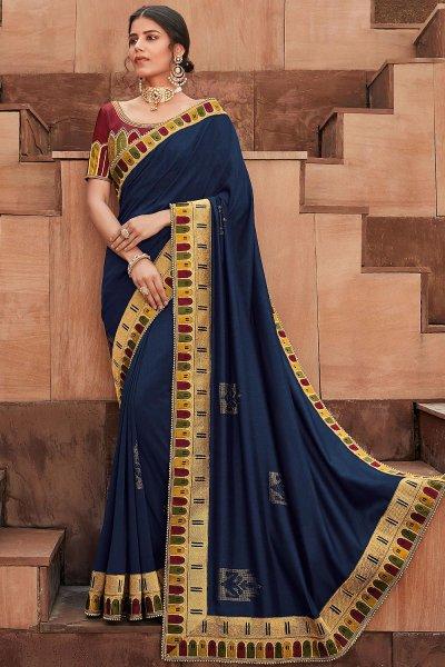 Navy Blue Designer Silk Saree
