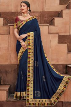 Navy Blue Designer Silk Saree