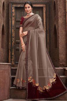 Designer and Elegant Grey Embroidered Silk Saree