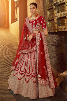 Beautiful Red Velvet Zari Embroidered Bridal Lehenga
