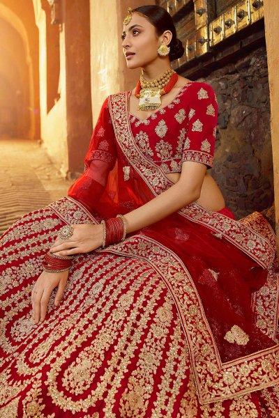 Beautiful Red Velvet Zari Embroidered Bridal Lehenga