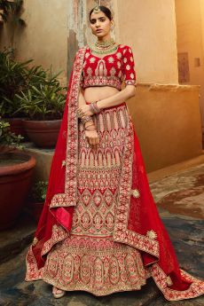 Gorgeous Red Velvet Indian Designer Bridal Lehenga