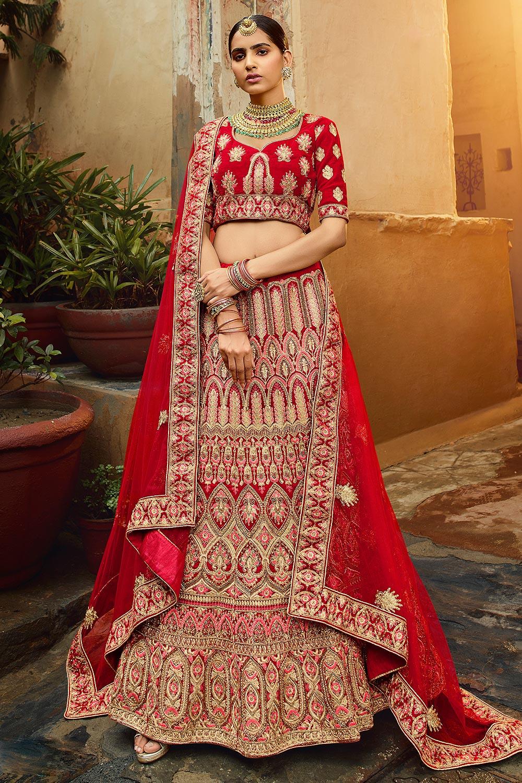Gorgeous Red Velvet Indian Designer Bridal Lehenga