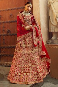 Ravishing Red Zari Embroidered Velvet Bridal Lehenga